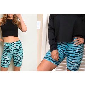 Aqua turquoise & black zebra print biker shorts